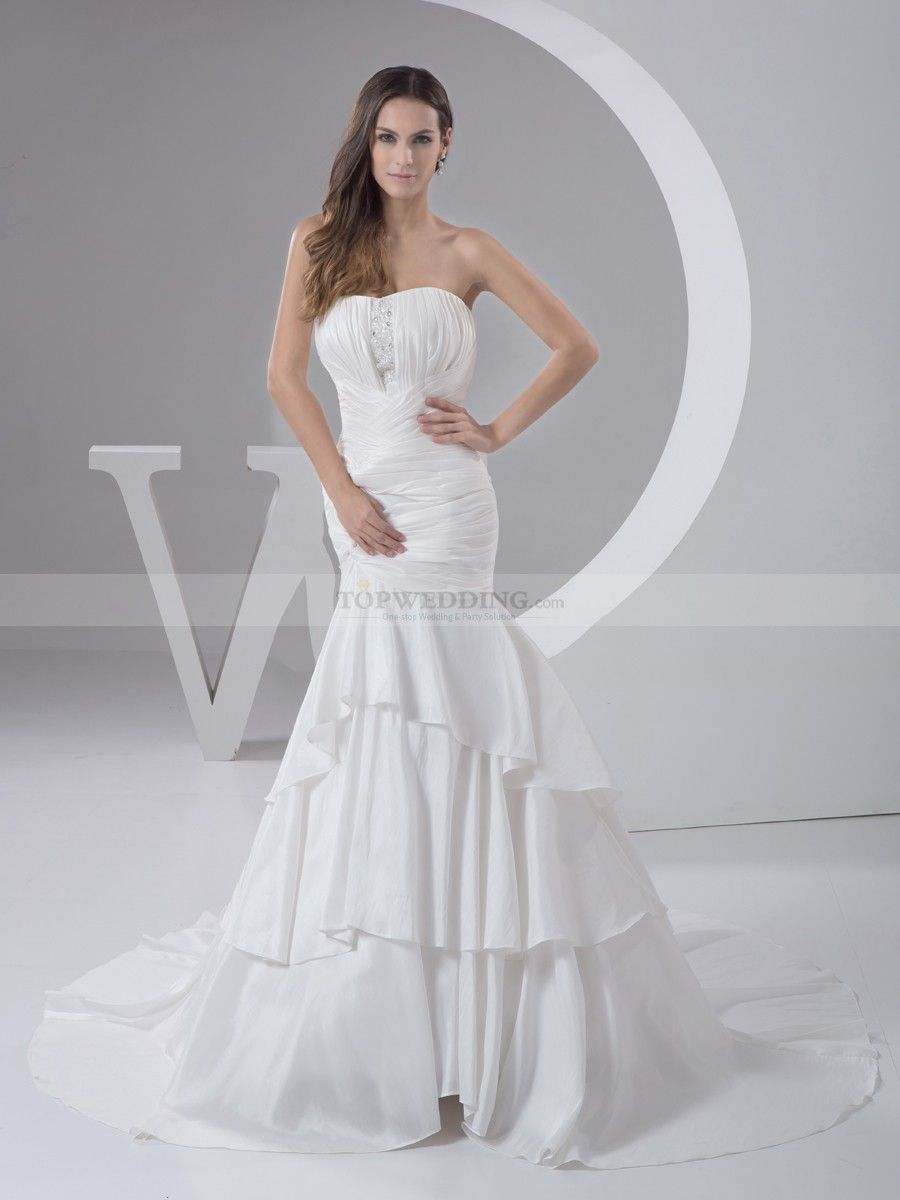 Pleated wedding dress  Strapless Pleated Taffeta Wedding Dress in Mermaid Style  Taffeta