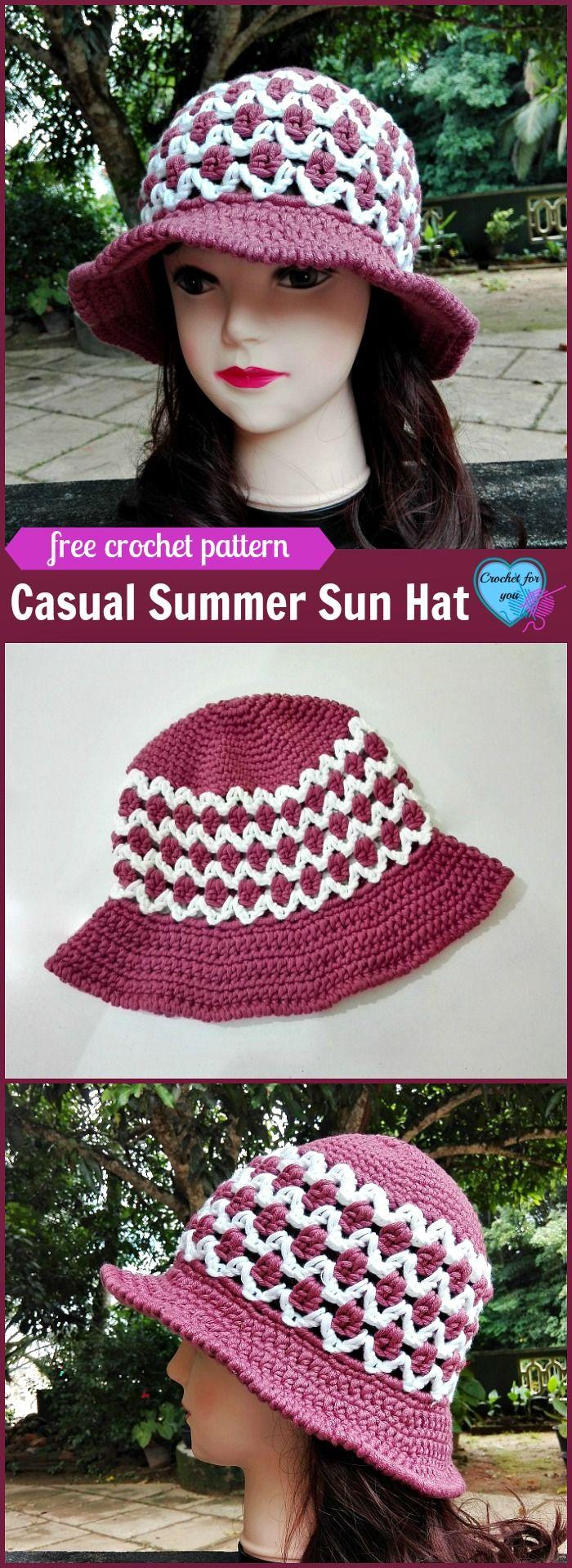 Crochet Casual Summer Sun Hat Free Pattern | Pinterest | Häkelmuster ...