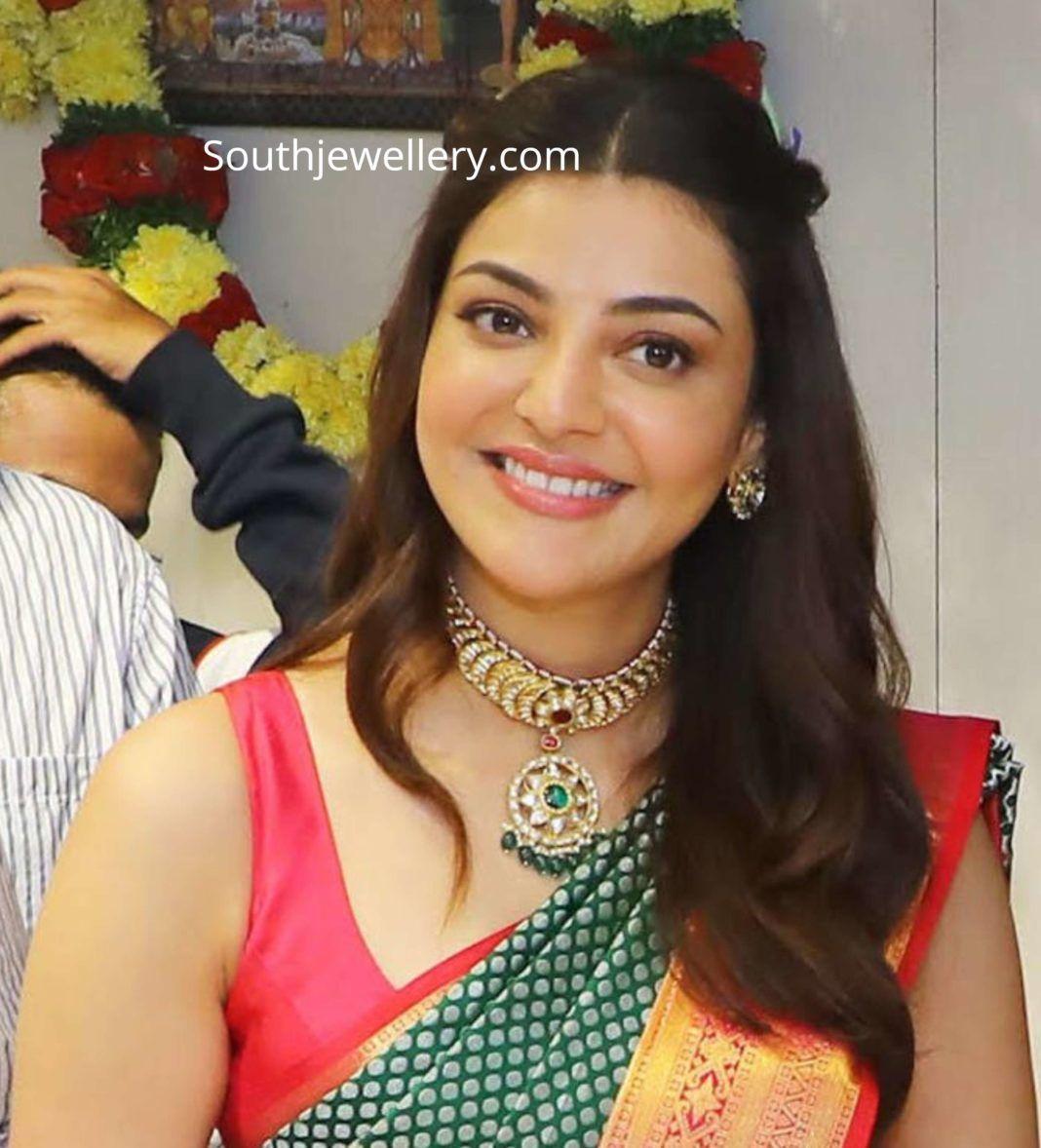 Kajal Aggarwal In A Kundan Choker And Studs Photo In 2020 Beautiful Indian Actress Indian Jewellery Design Beautiful Girl Indian