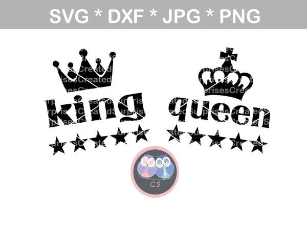 Her King Svg His Queen Svg King And Queen Svg Svg Design: King, Queen, Crown, Stars, Digital Download, SVG, DXF, Cut
