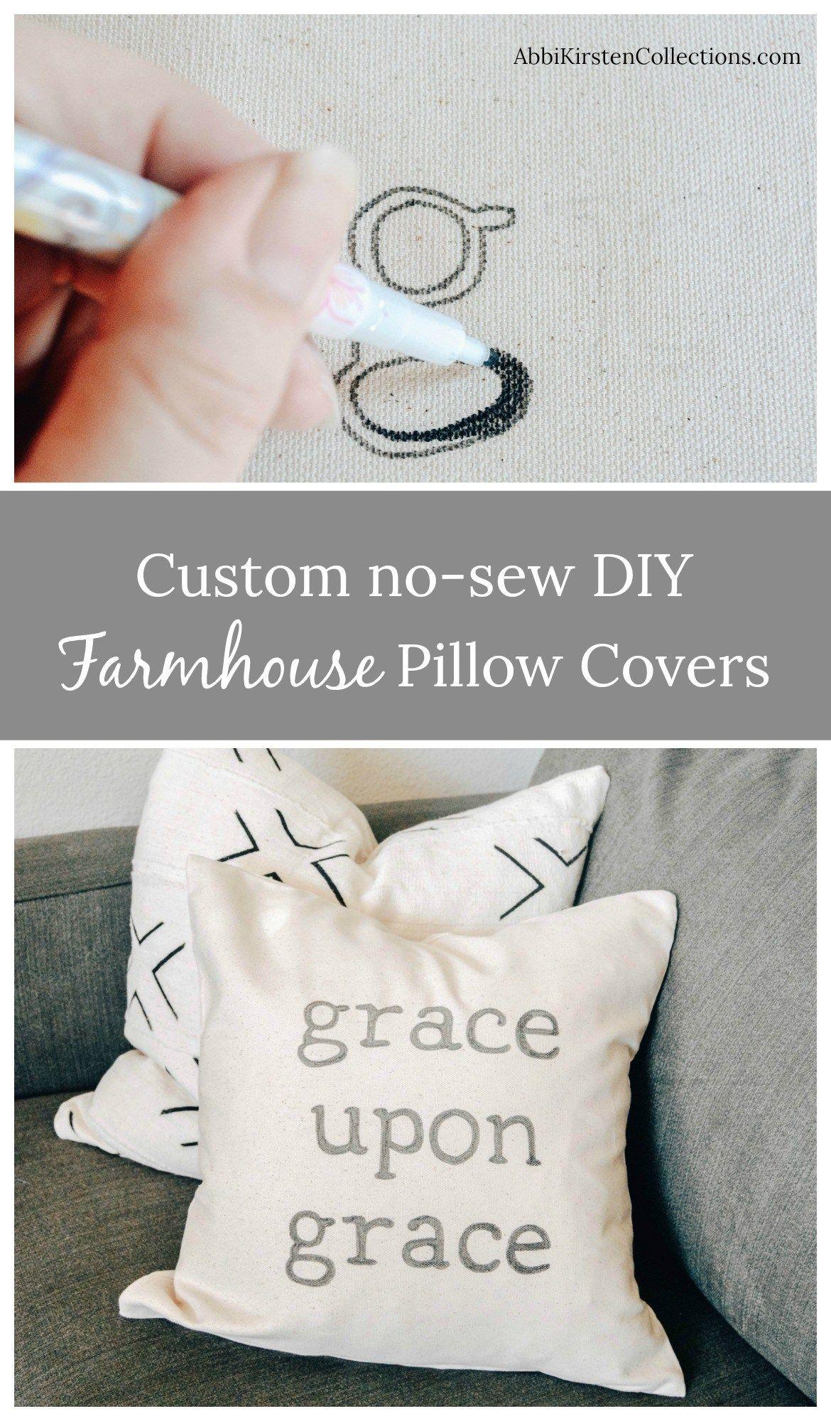 DIY Throw Pillow Covers: Farmhouse Pillow Cover -   18 diy pillows food ideas