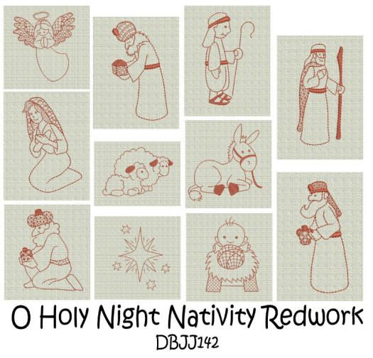 Embroidery Designs Free Machine Embroidery Designs JuJu Nativity Redwork Embroidery ...