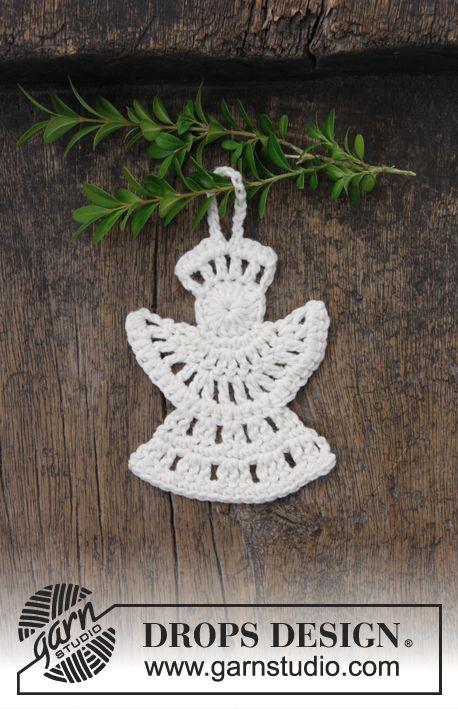 Gehaakte Engel Voor Kerst Het Werk Wordt Gehaakt In Drops Cotton