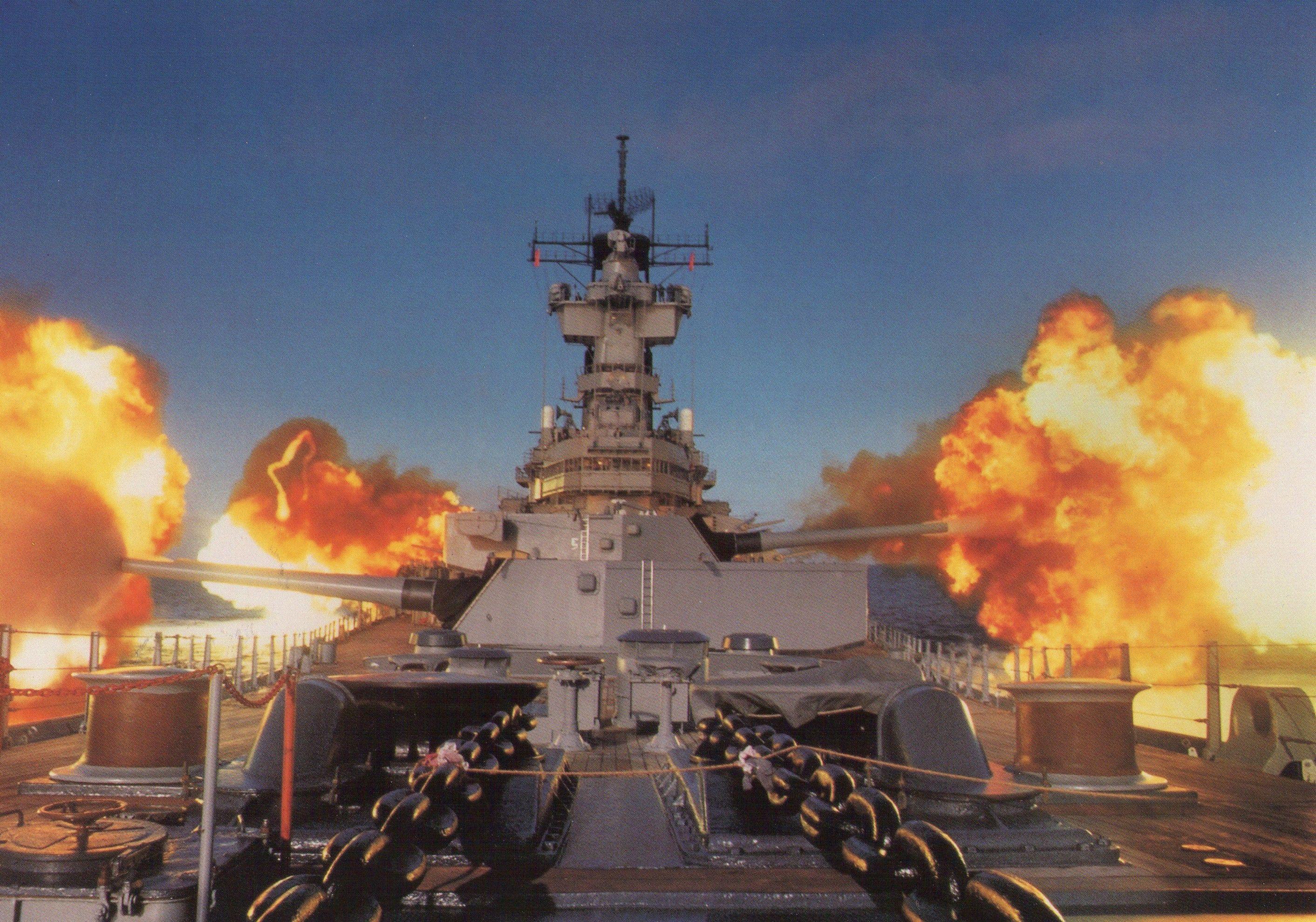 fires 16-inch//50-caliber guns BB-62 US Navy USN Battleship USS NEW JERSEY