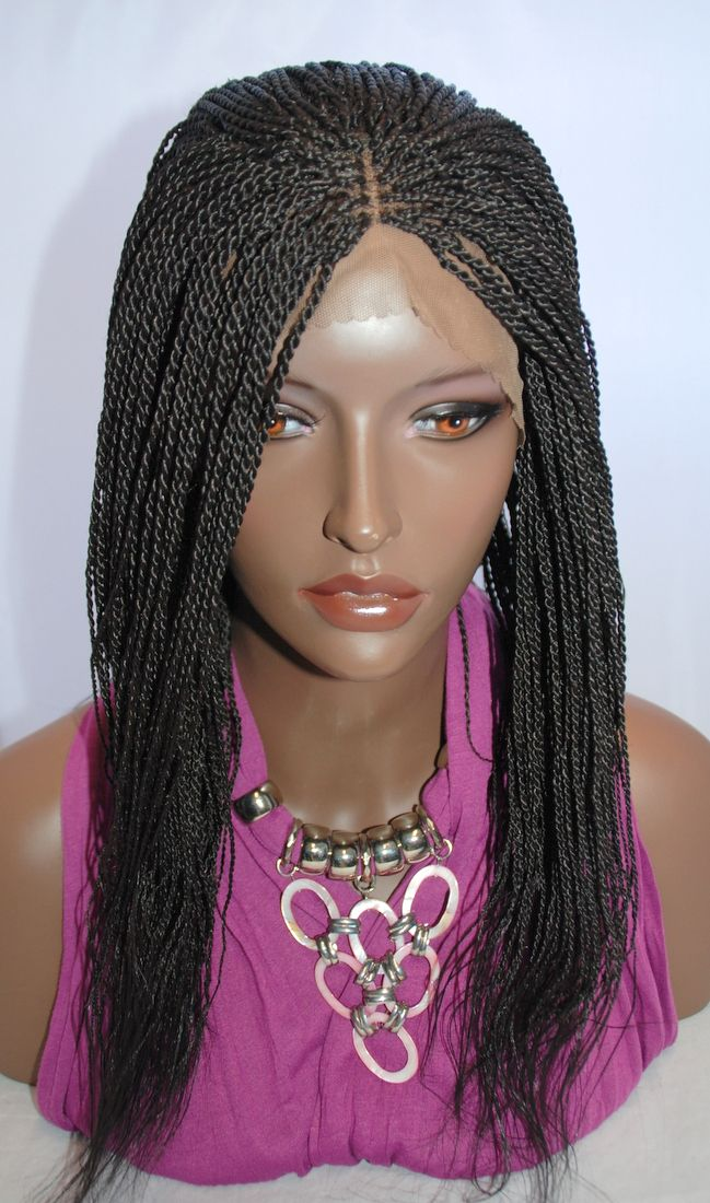 Hand Braided Lace Front Wig Senegalese Twists Color 2 In