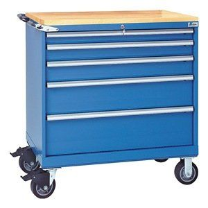 Mobile Service Bench, Bright Blue, 440 lb. by Lista. $2238.42. Mobile Service Bench, Load Capacity 440 lb., Overall Length 22-1/2 In., Overall Width 40-1/4 In., Overall Height 43-1/4 In.Number of Drawers 6Caster Type (2) Rigid, (2) SwivelMaterial SteelColor Bright Blue, Powder Coat Finish, Handle Tubular, Drawer Load Rating 440 lb., Drawer Height 2-1/8, 3-1/8, 4-1/8, 7-1/16, 9 In., Drawer Width 36 In., Drawer Depth 18 In.Includes Patented Locking System, (2) Ke...