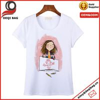 summer newest illustration printing cotton T-shirt lady easy-matching cartoon…