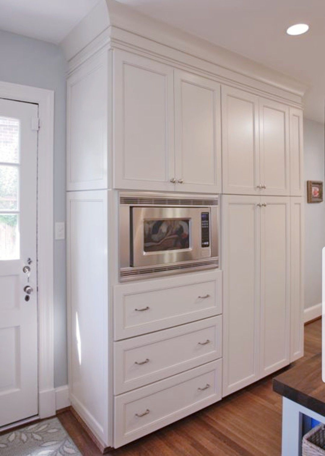 Pin By Sherry Allnutt On Kitchen Ideas Built In Microwave Cabinet Kitchen Pantry Cabinets Pantry Cupboard Designs