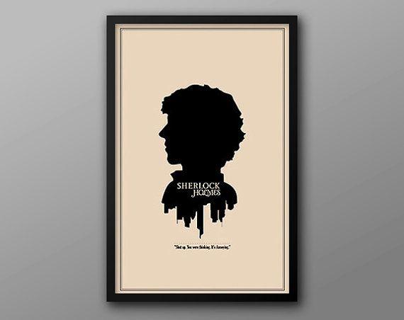 Sherlock Character Cameo: Sherlock Holmes Print // Minimalist London Skyline and Literary Character Profile Illustration