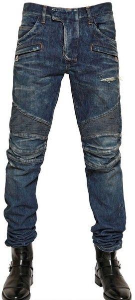 Mens Waxed Denim Jeans