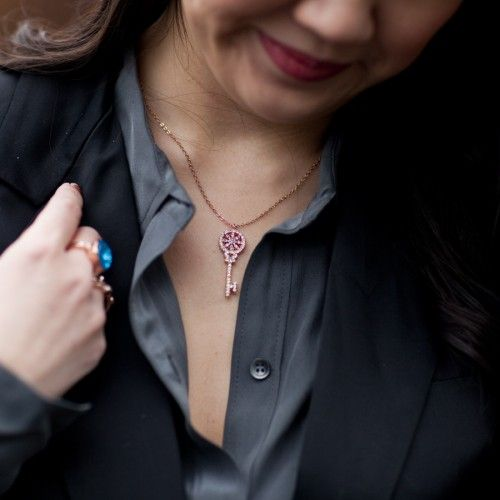 Charmed Key Crystal Necklace - t+j Designs