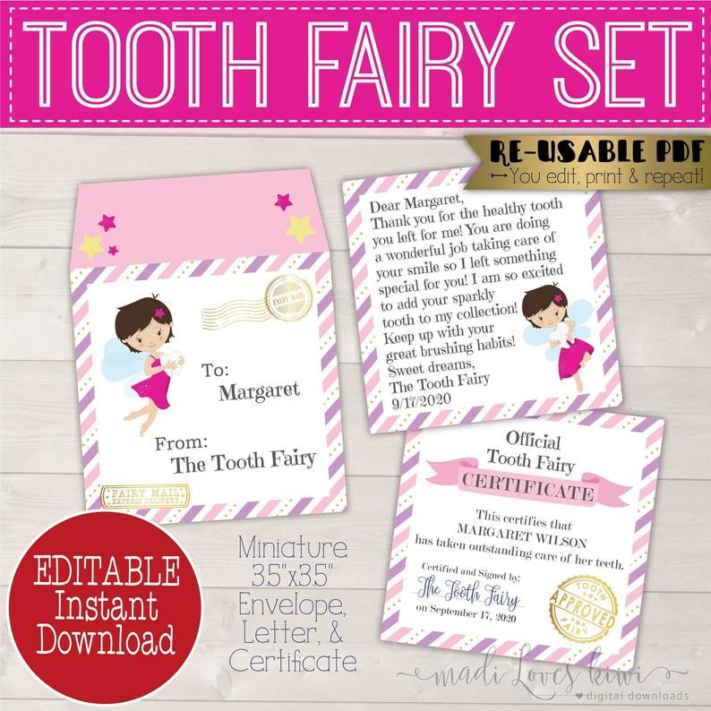 Mini Tooth Fairy Letter Printable With Envelope Editable Lost Etsy Tooth Fairy Letter Tooth Fairy Certificate Tooth Fairy Receipt