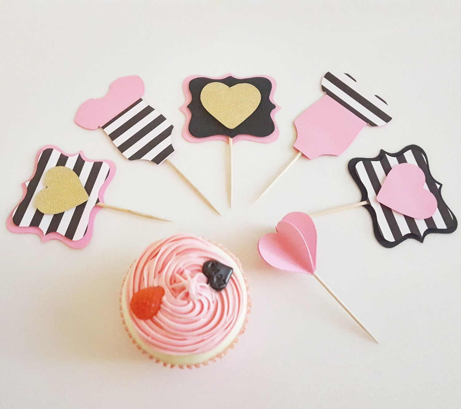 Pink, Black and Gold Baby Shower Cupcake Topper, 12 PC Cupcake ...