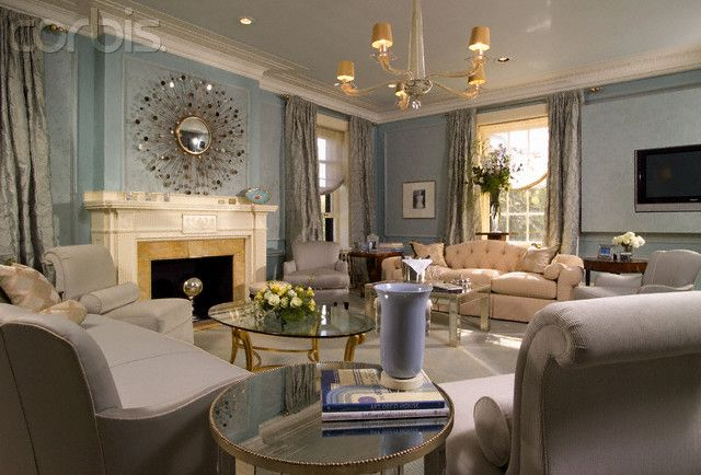 blue walls and light gray furniture in living room | for the home