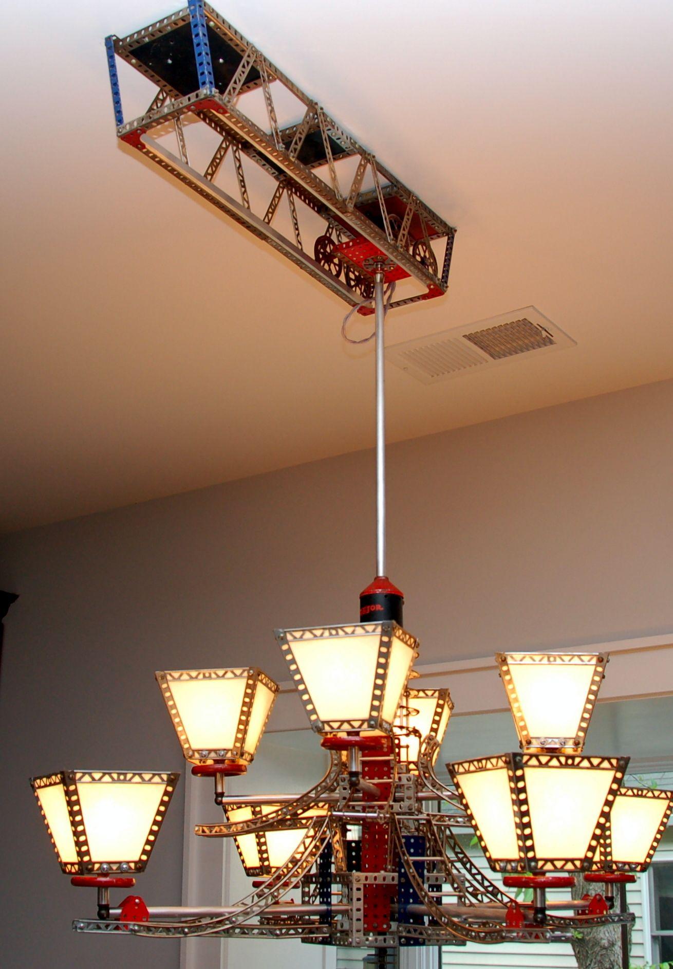 Erector set chandelier on moving track by Rick Singleton Lighting ... for Train Ceiling Light  8lpfiz