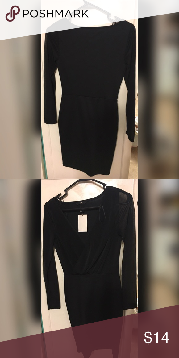 Cute little black dress Long sleeve, v-next black dress. Sleeves are sheer and is form fitting. Never worn, NWT. H&M Dresses Mini