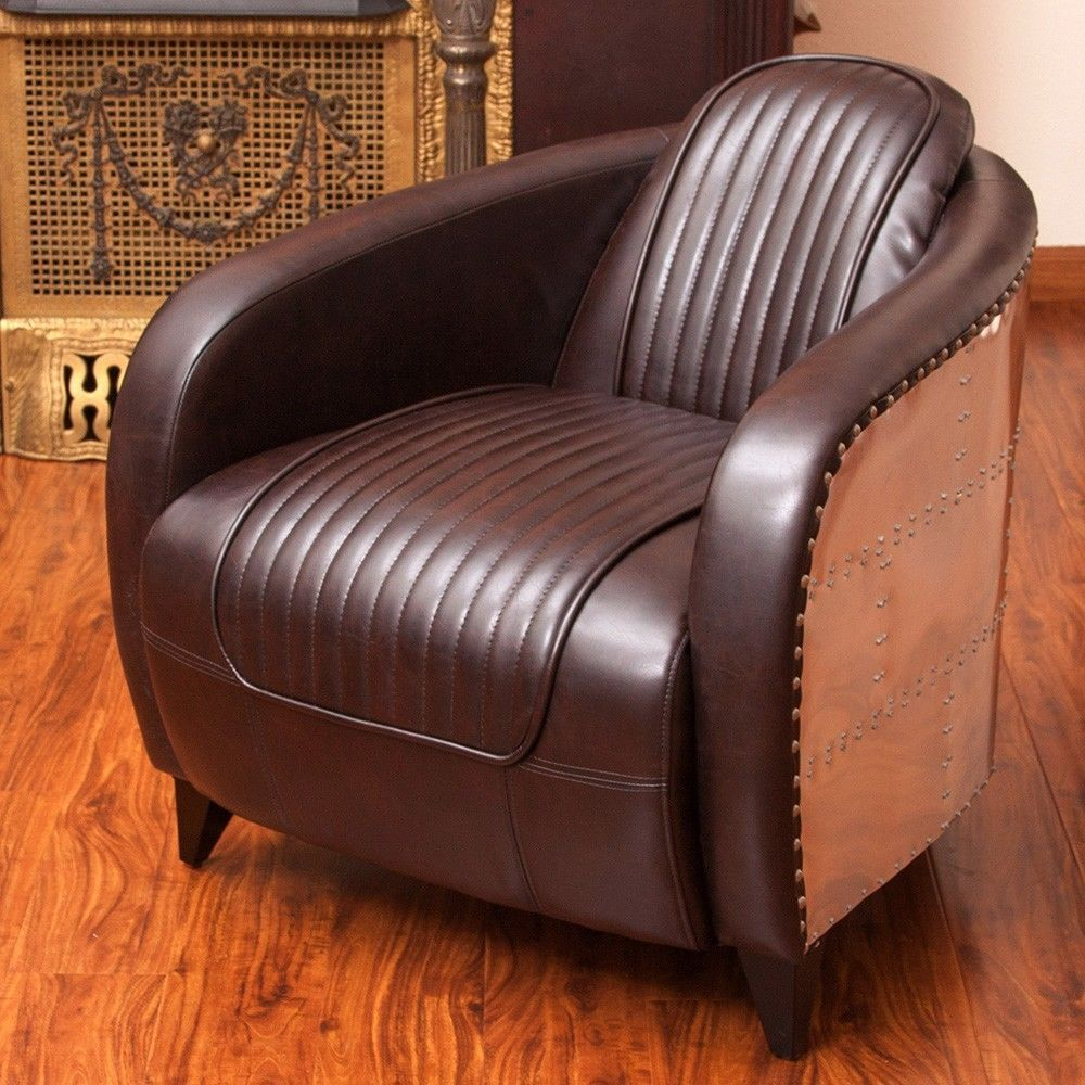 Avion WWII Jet Fighter Design Brown Leather Accent Club Chair in