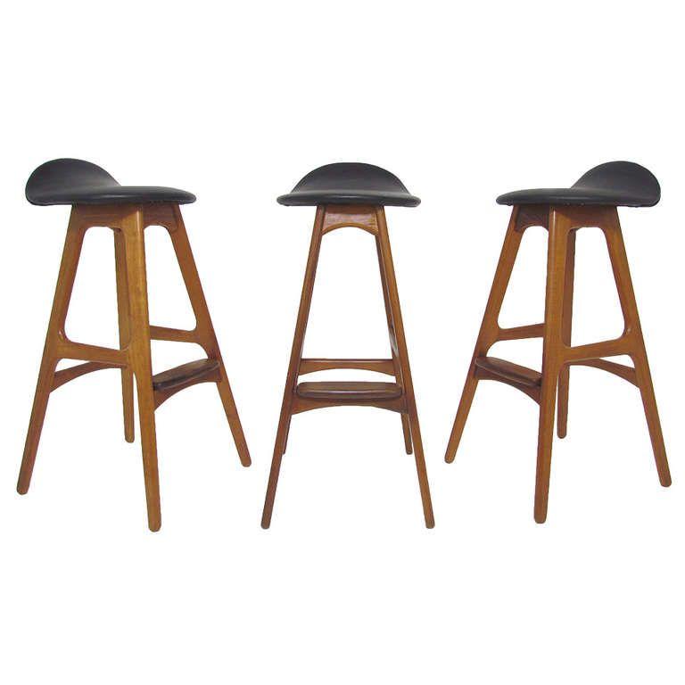 set of three danish teak and leather bar stools by erik buck teak