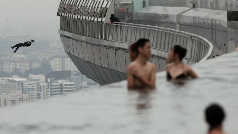 What Is Strange About This Picture Oh The Man Falling From The Sky Only In Singapore Base Jumping Infinity Pool Pool