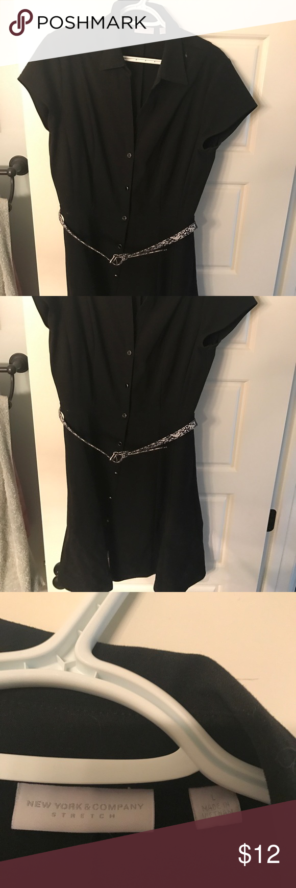 New York and Company black dress Large black New York and Company dress. Very good for work! I wore this maybe 5 times. It has a leopard belt As well. Buttons going down the front and collared neckline Dresses Midi