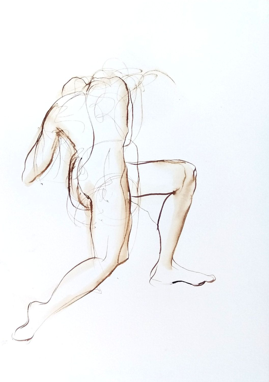 Figure drawing female nude on one knee twisting away pen and ink by michellearnold on etsy