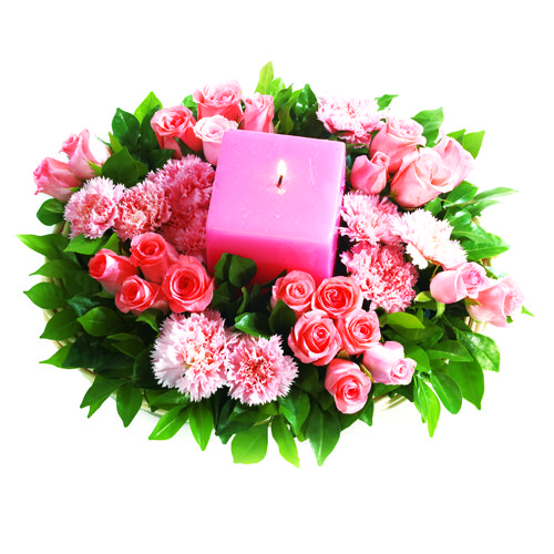 candles around flowers - Google Search