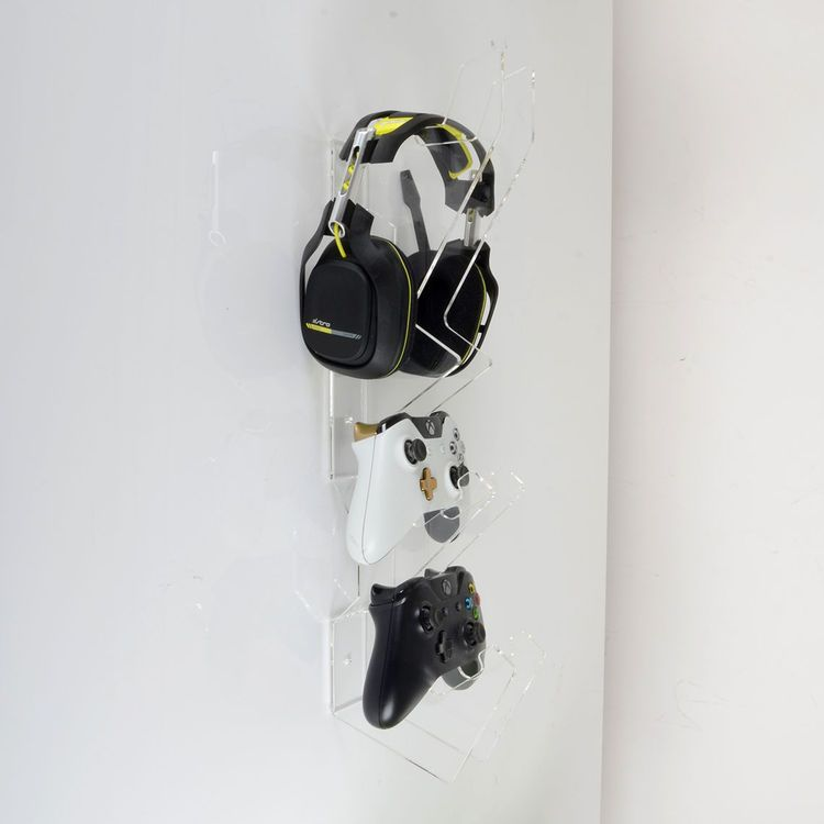 Wall Mounted Games Controller And Headset Holder Available In A