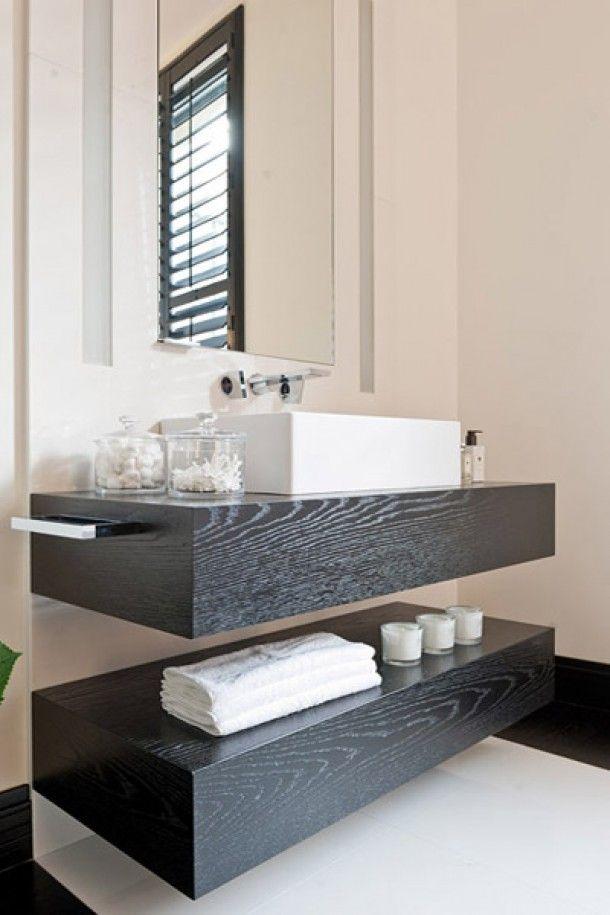 Goede dikke planken onder wastafel | Modern interieur decoratie, Donkere PX-54