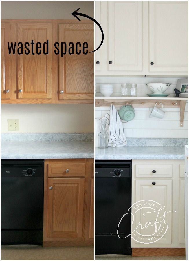 Genius DIY: Raising Kitchen Cabinets and Adding an Open Shelf #kitchenremodelsmall