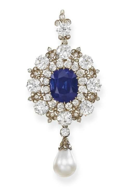 An important antique sapphire, diamond and pearl pendant-brooch