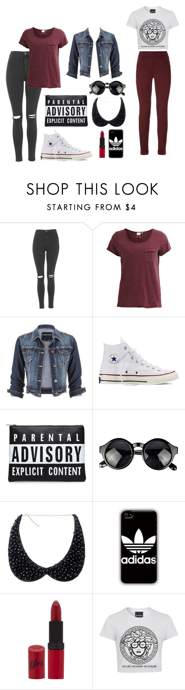 """Untitled #73"" by shelby-lee-hewlett ❤ liked on Polyvore featuring Topshop, Object Collectors Item, maurices, Converse, CO, adidas, Rimmel, J Brand, women's clothing and women's fashion"
