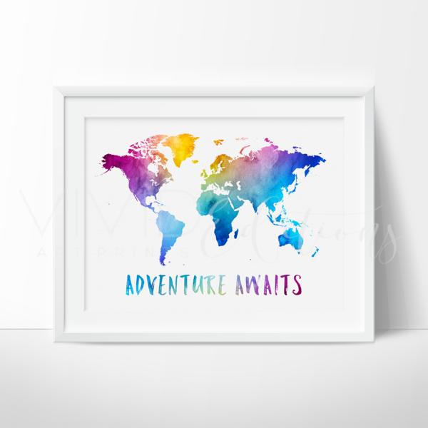 Adventure awaits travel quote world map watercolor art print adventure awaits travel quote world map watercolor art print gumiabroncs Image collections