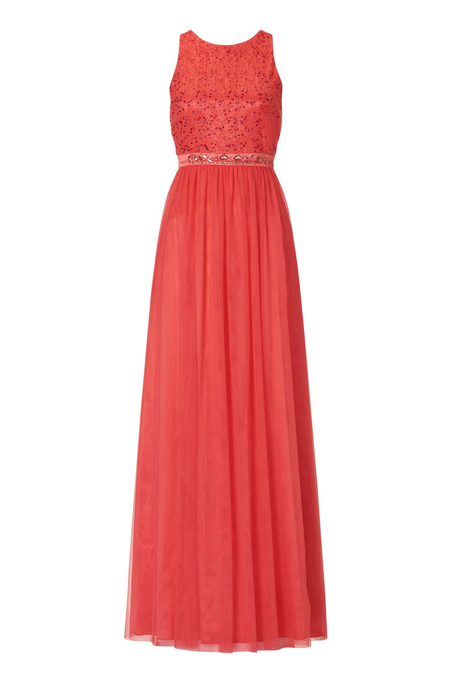 Langes Abendkleid aus feinem Tüll mit Pailletten Rot Vera Mont