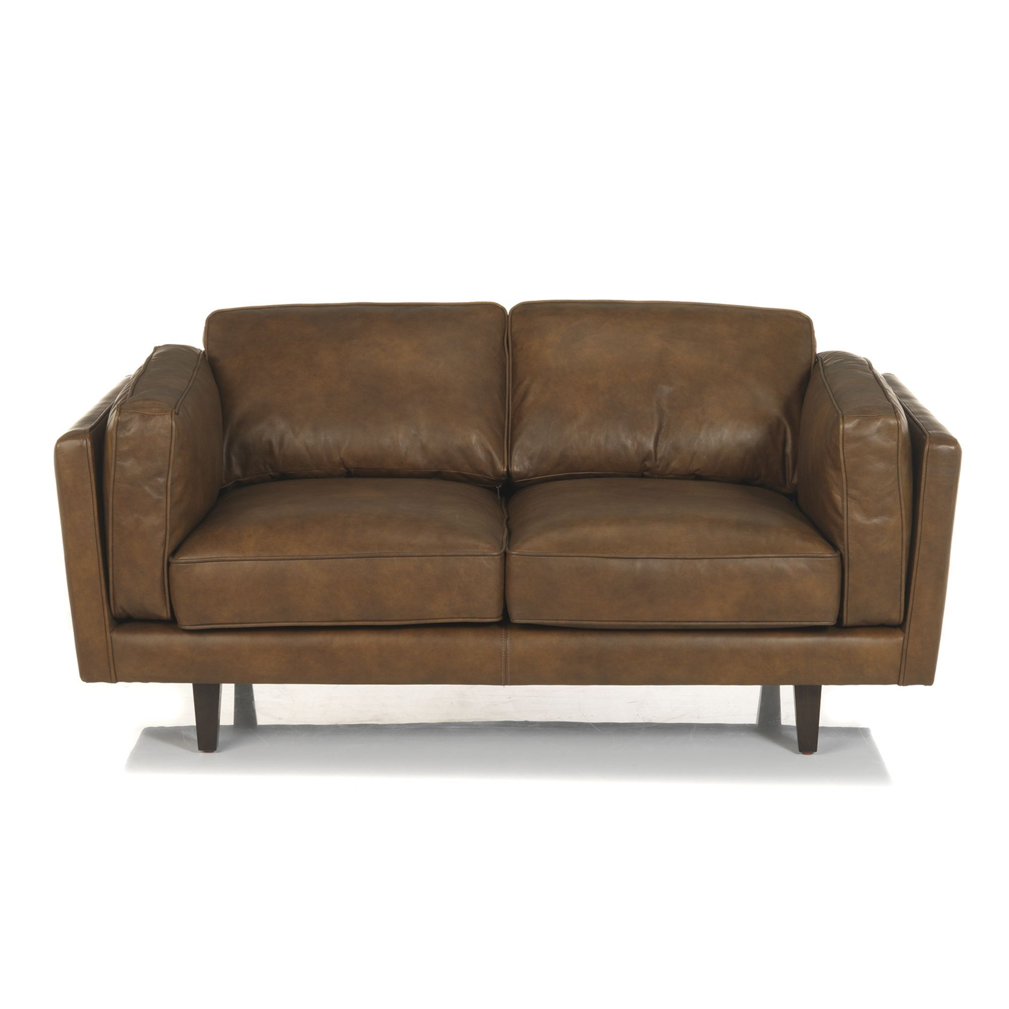 canap en cuir vachette 2 places camel brooklyn salon. Black Bedroom Furniture Sets. Home Design Ideas