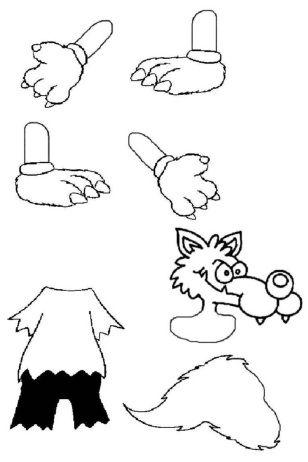 Loup pantin conte le petit chaperon rouge loup trois petits cochons et maternelle - Coloriage pierre et le loup ...