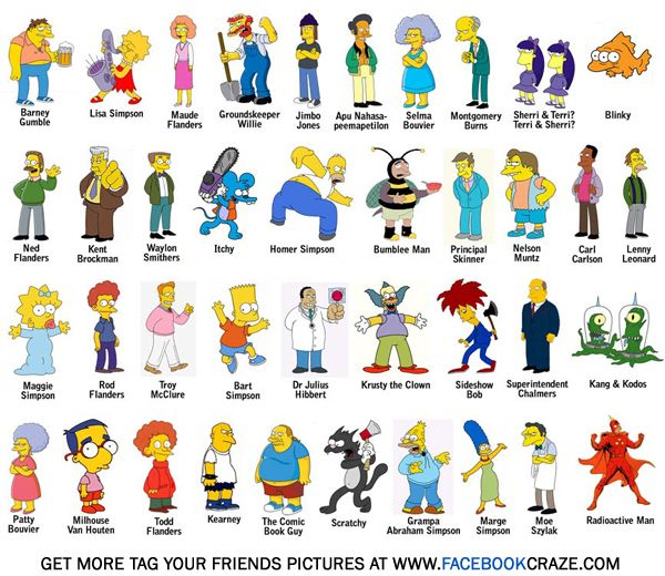 Cartoon Characters With In Name : Simpsons characters names tv pinterest