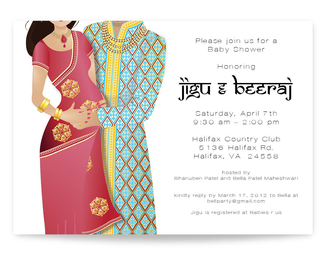Indian baby shower invitation - Indian couple baby shower invitation ...