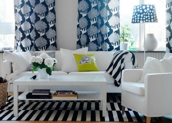 Wohnzimmer Design Ideen IKEA Vorhnge Streifen Teppich