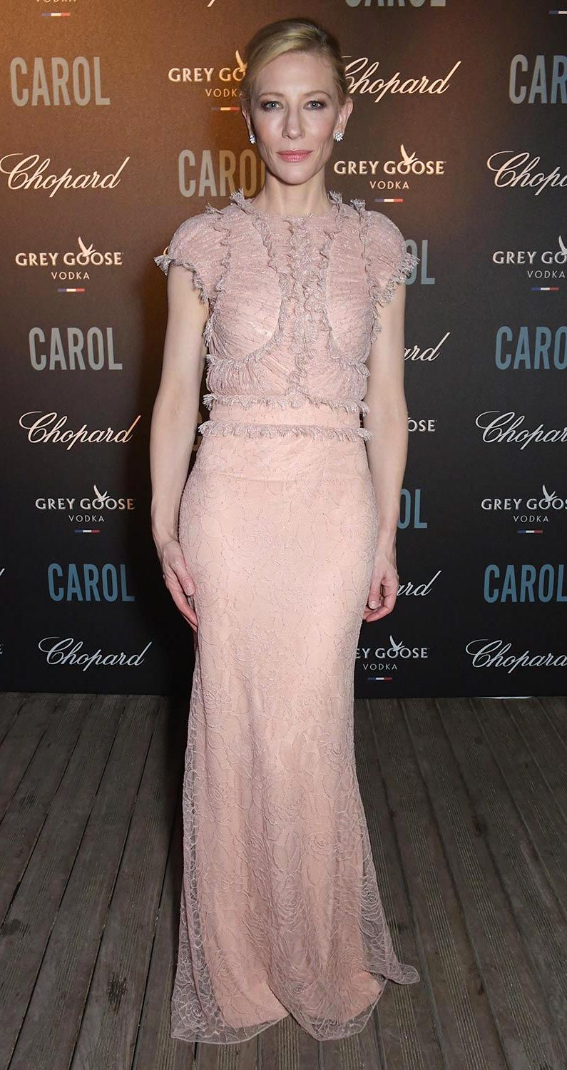 "Cate Blanchett in Grey Goose gown attends the ""Carol"" premiere in Cannes."