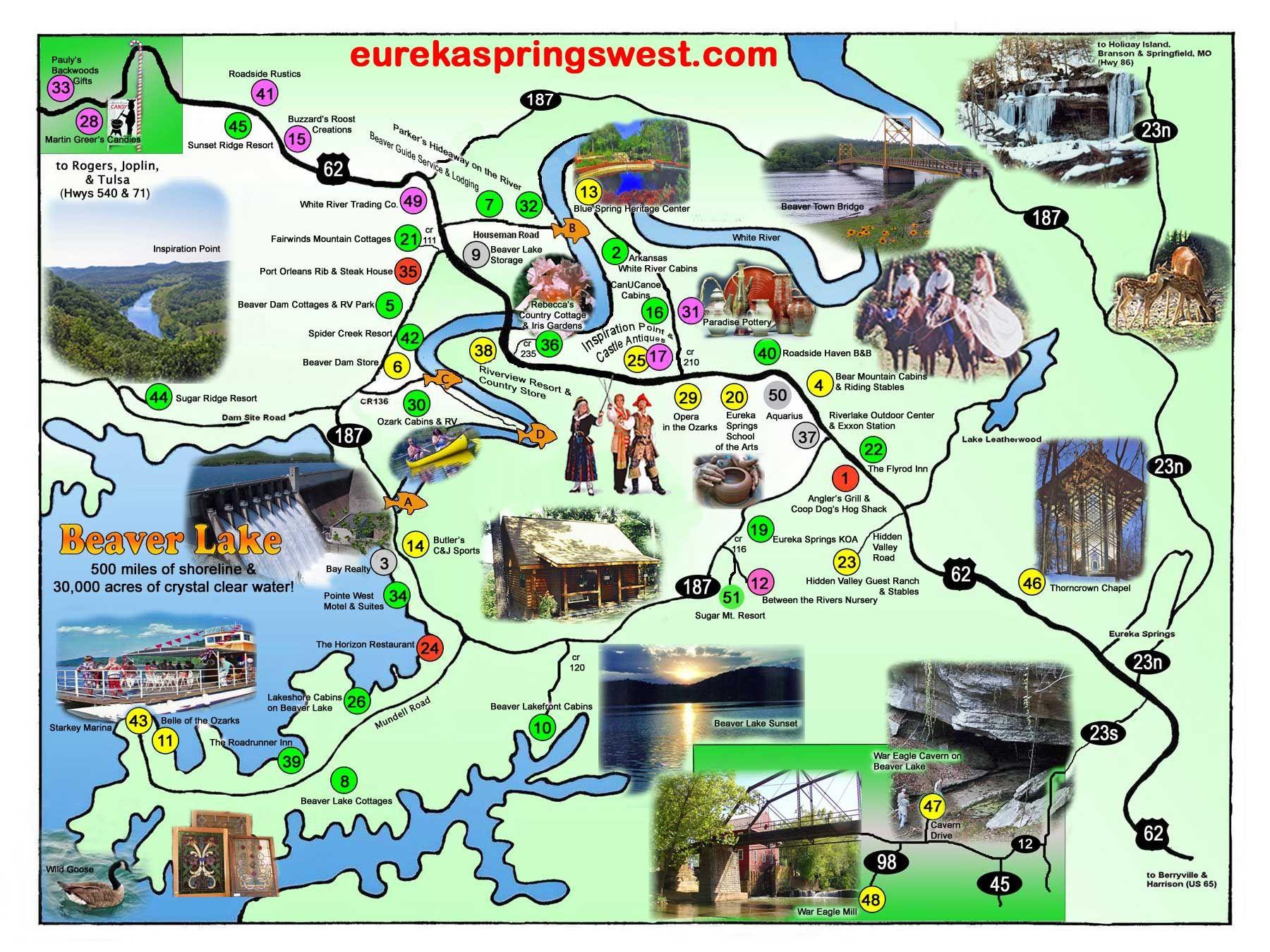 Eureka Springs West Tourist Map   Eureka Springs Arkansas