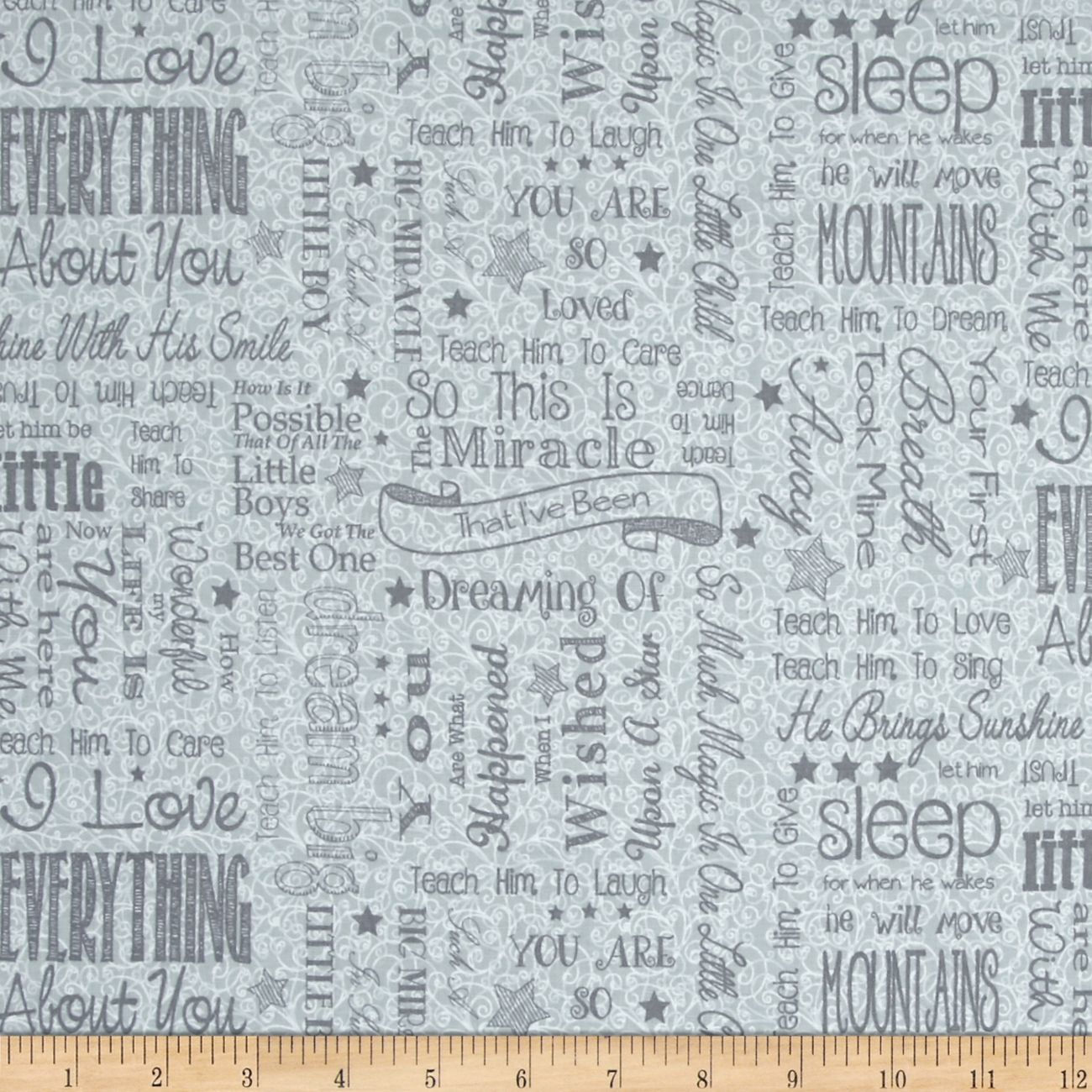 First Words Word Toss Gray Fabric By The Yard   Fabric ...
