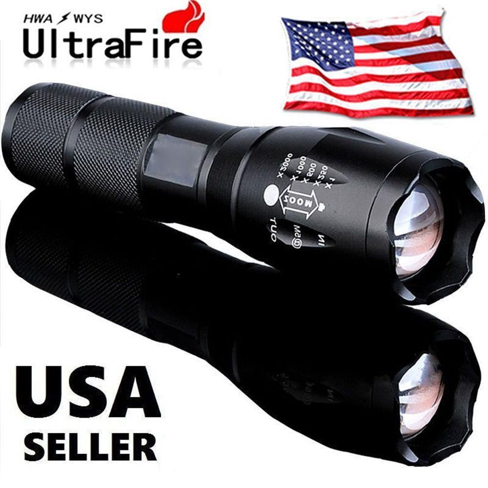 Tactical/Military 10000LM LED Zoomable Flashlight + Battery