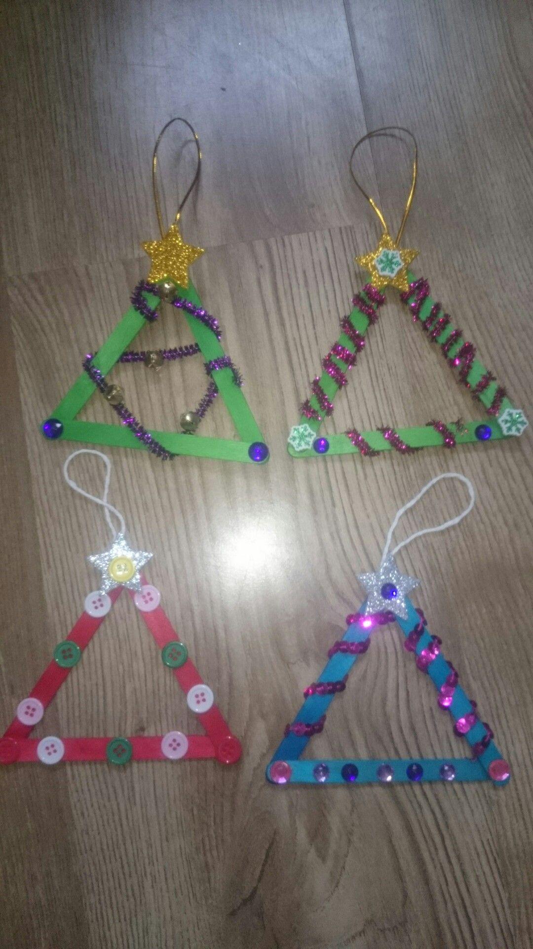 christmas Tree Ornaments - popsticle trees