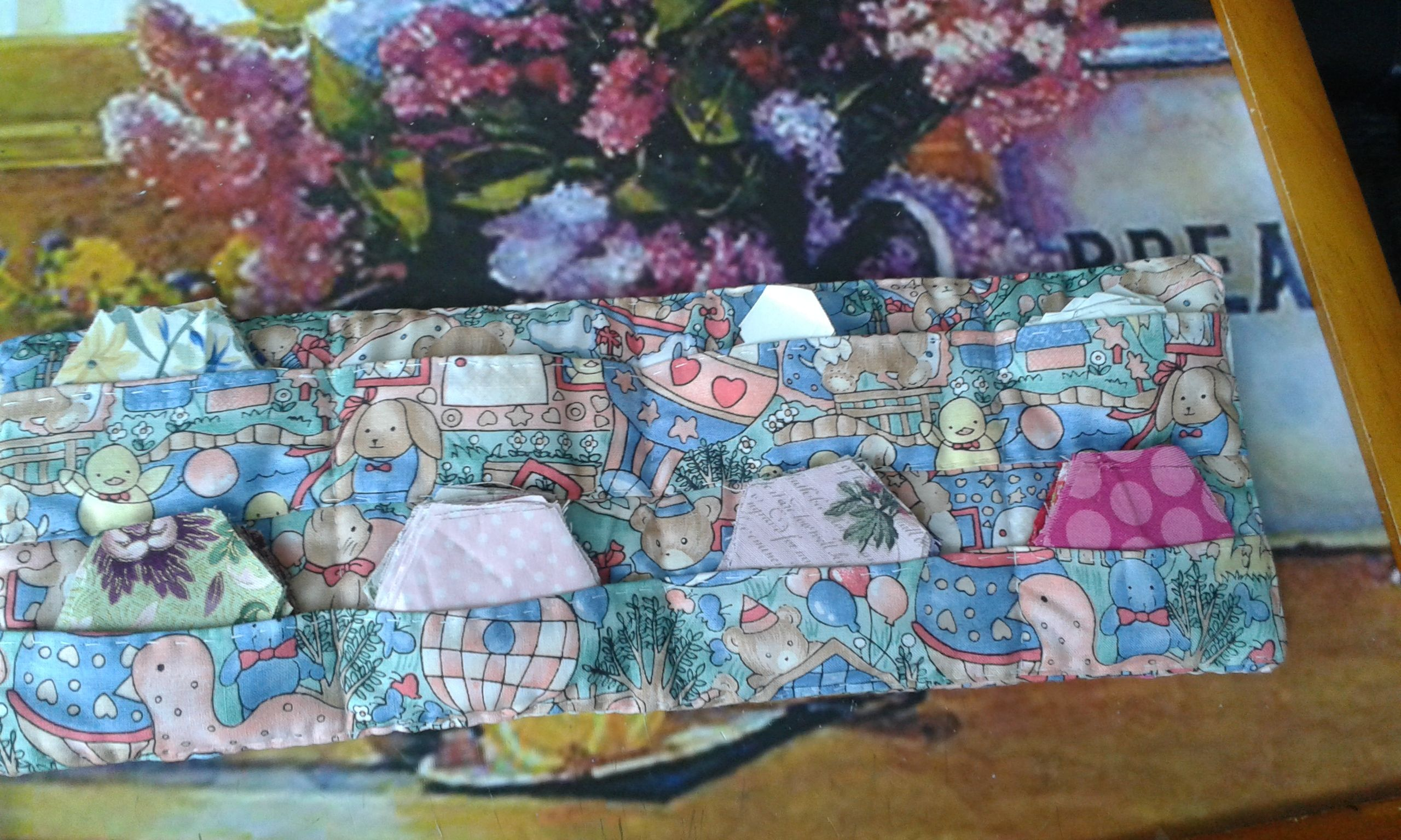 English Paper piecing hexagon pouch.