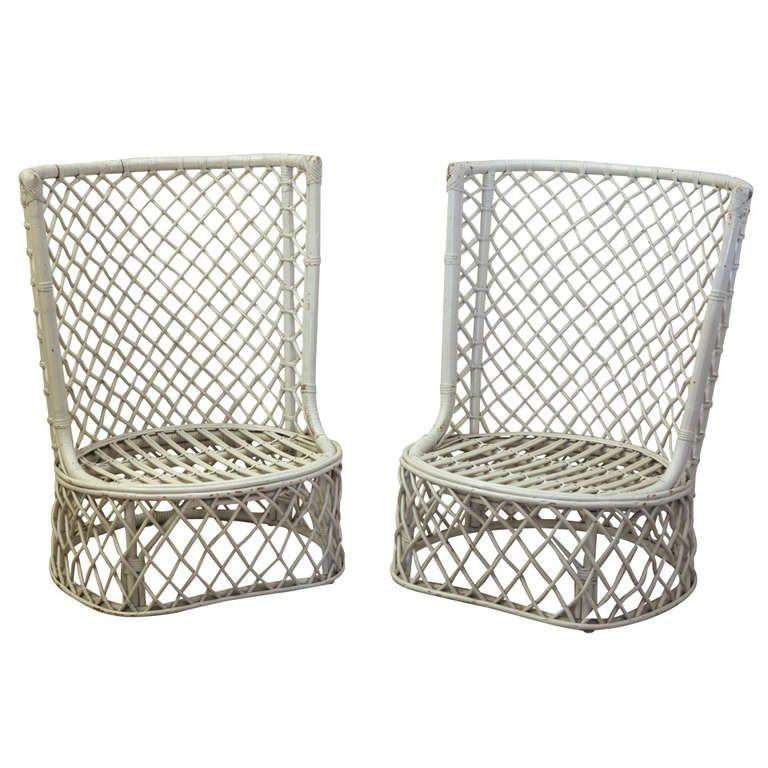 1960u0027s Palm Beach High Back Rattan Chairs
