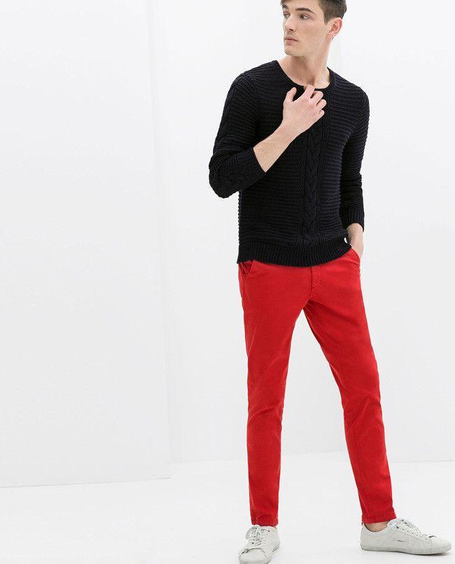 Y House Jeans Pantalon Red 2019 Rojo Trousers En Chinos Zara aw87vqnv