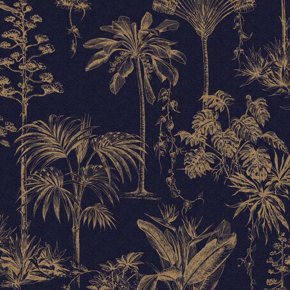 Elephant Grove Charcoal Wallpaper Jungle Tropical Palm Tree Birds Paste The Wall