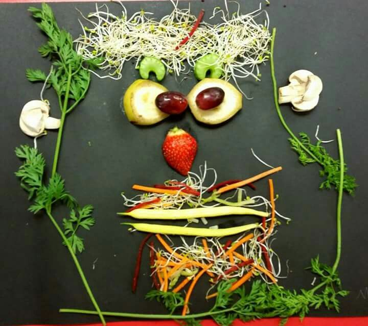 Funny fruit and vegetable faces by the year 1s today. Lots of fun eating their faces after they had taken a photo of their creations.