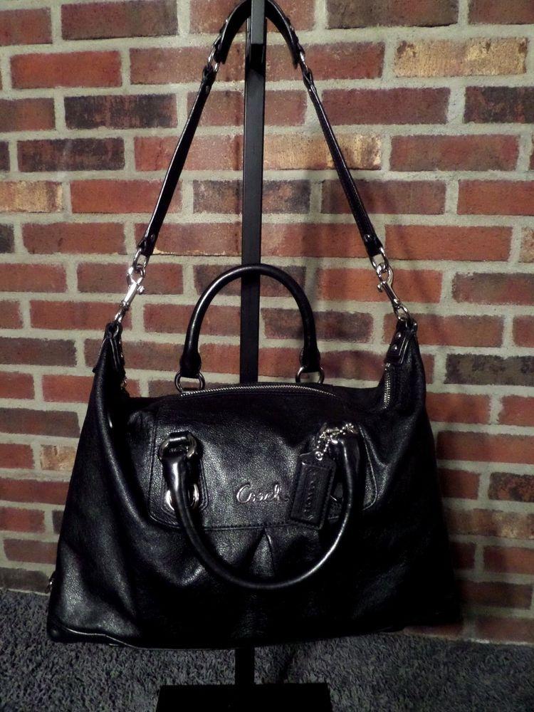 68402741cd8a1 Coach Ashley Black Leather 2way Convertible Satchel Shoulder Handbag F15447  EUC