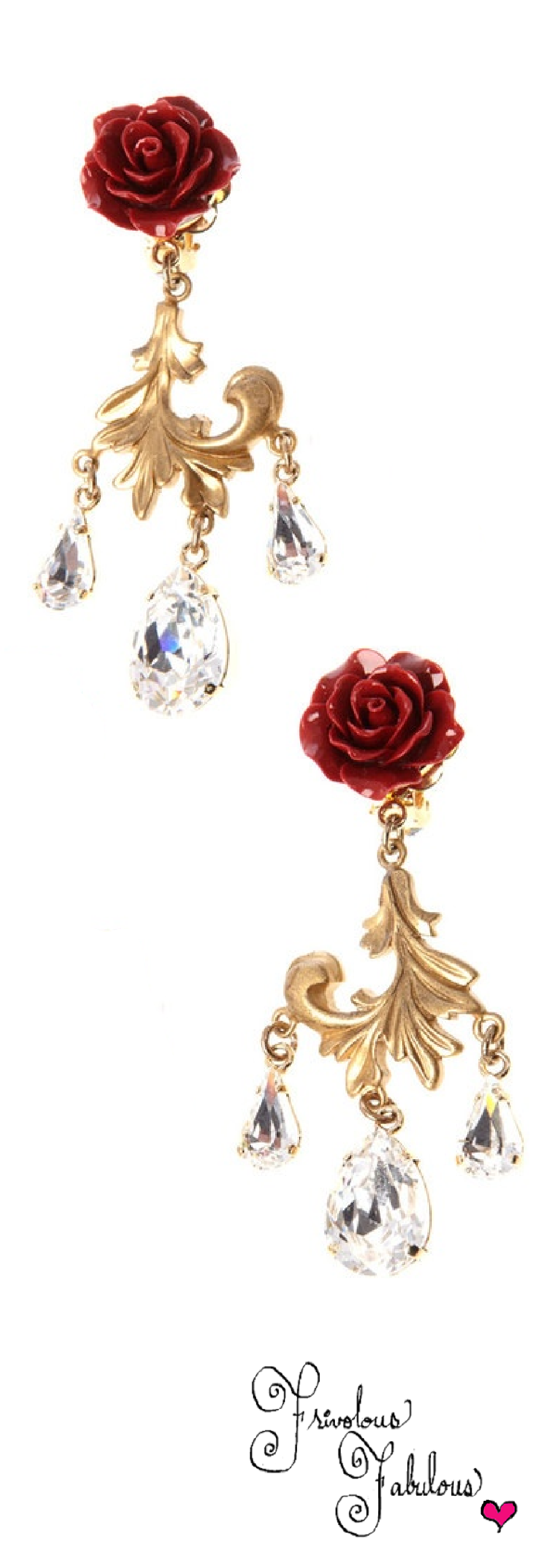 Dolce & Gabbana rose and crystal drop earrings - Red 0GUWNplcpo